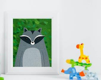 Raccoon, Woodland Animals, Woodland Critters, Nursery, Animal Wall Art, Kids Room, Animals, Print