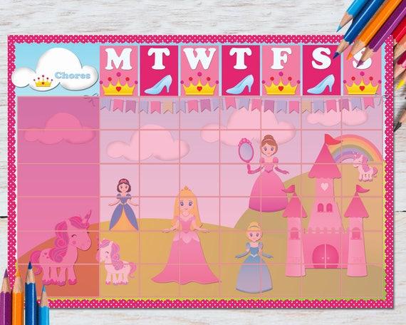 toddler chore chart girl fairy unicorn routine homework