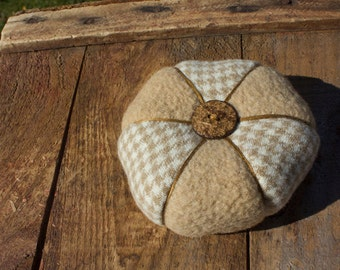 Cream and Brown Two Toned Hesagonal Shaped Wool Pincushion