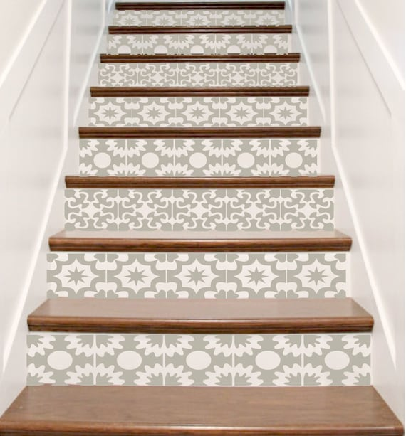 58 Cool Ideas For Decorating Stair Risers: Vinyl Stair Tile Decals Hacienda Spanish Style Staircase