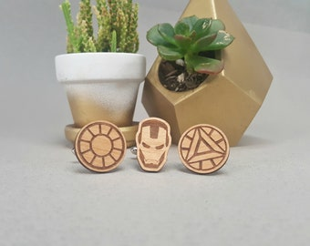 Marvel Iron Man Cuff Links - Laser Engraved on Alder Wood - Cufflinks Pair - Ironman Arc Reactor