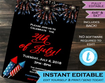 4th of July Party Invitation July 4 Invite Independence Day Party Fireworks Printable Personalized INSTANT Download Self Editable 5x7 & 4x6