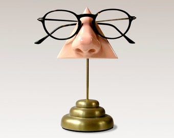 Nose Eyeglass Stand, Desk top organizer, Brass finished base, men women