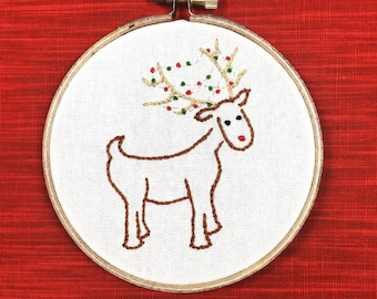 Reindeer Caught in Christmas Lights Holiday Embroidery Decoration (Handmade)