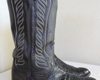 Vintage Black Leather 'Tony Lama' Cowboy Boots - UK Size 9.5 - Nice!!