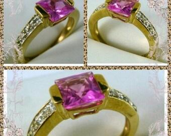 Tourmaline and Diamonds Alternative Engagement, Dress Ring, 5mmx5mm Beautiful Magenta Coloured Large Tourmaline, 9K Gold, FREE GIFT