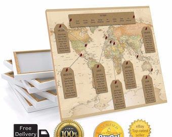 Personalised Travel World Map Wedding Table Plan Seating Chart Large Print OR Canvas A1 A2 A3
