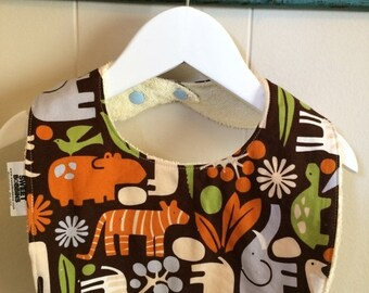 Spring Sale 2D Zoo Chocolate - Infant or Toddler Bib - Terry Cloth Backing - Reversible with ADJUSTABLE Snaps