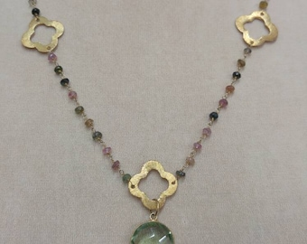 Multi gem stone sterling silver goldfilled chain necklace