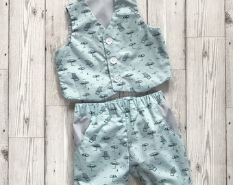 Baby Patterned Suit - Baby Summer Wedding - Boys Trousers - Green Boys Suit - Casual Boys Suit - Summer Wedding Outfit