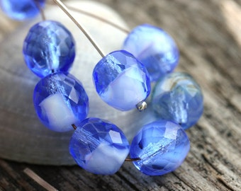 10mm Sapphire blue Czech glass beads, fire polished round faceted beads - 6Pc - 2075