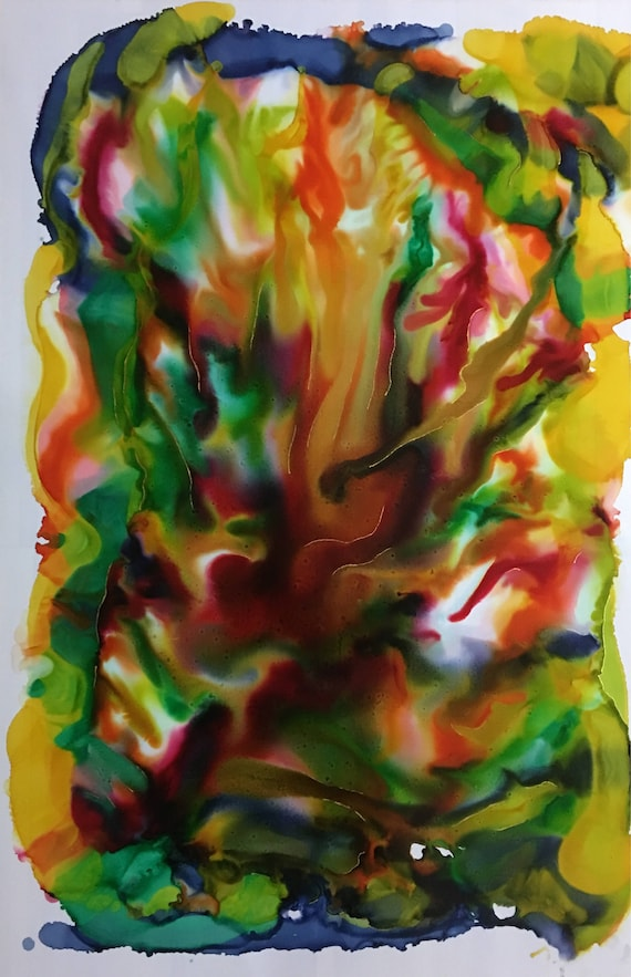 """Large Original Alcohol Ink Abstract: """"Flames"""" (23"""" x 35"""")"""