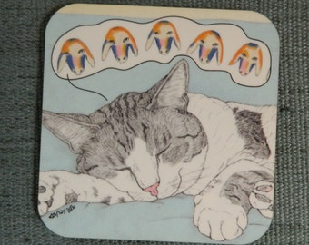 Cats coaster - kadishman -  featuring Spageti, the famous Israeli cat from Ha'aretz Newspaper Comics