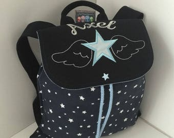 Backpack child custom embroidery with name and nursery or school motif