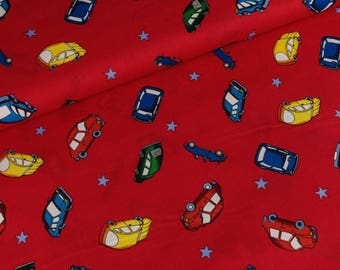 Cotton fabric small cars on red (8.00 EUR/meter)