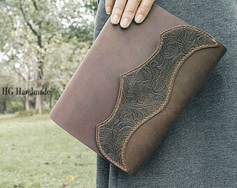 Leather carving rustic handbound leather journal, blank paper notebook ,longstich handbound,unique gift Sketchbook / Diary