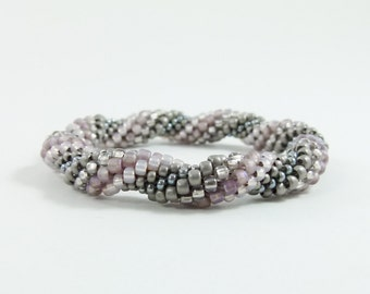 Bead Crochet Rope Bangle, Spiral Design in Grey, Taupe, Silver and Taupe - Item 1563
