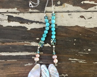 Mother of Pearl Turquoise Necklace