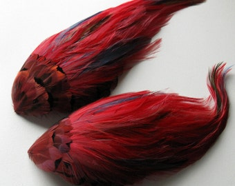 2 Garnet Red Vintage Feather Pads for Millinery, Hair Clips, Fascinators