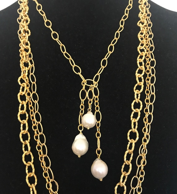 """Pearl Pendant Necklace, Drop Pearl Necklace, Baroque Pearl Necklace, Gold/Sterling Silver, 20"""" , 22"""", 24"""", 26"""" Long"""