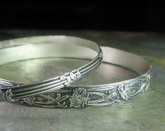 Stacking Bangles, Sterling Silver, Flower, leaves, rustic - Garden Gate