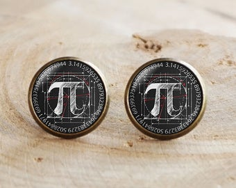 PI Stud earrings,Black Pi Earrings,Pi sign eyes earrings,Mathematical Jewelry, Mathematics earrings,Pi jewelry