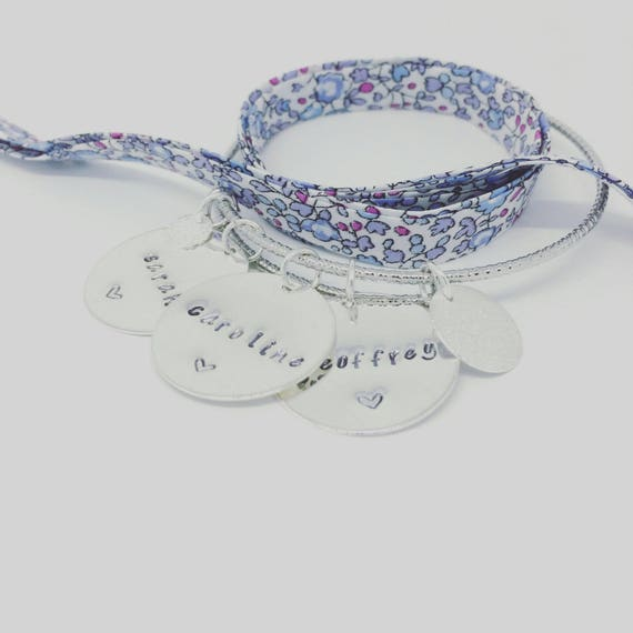 """Bangle personalized shimmering Silver """"SIMPLY"""" with 3 prints custom - Palilo jewelry"""