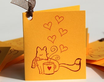 Yellow Classroom Valentines, Handmade Mini Notecards with Fox, Mug and Hearts, Happy Valentine's Day, Kids' Valentine's Cards, Made to Order