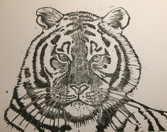 Tiger, Hand-pulled lino block print