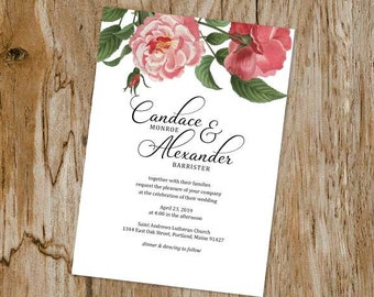 Pink Roses Wedding Invitation Suite; Invitation, Reply, Leaves, Garden, Floral, Vintage