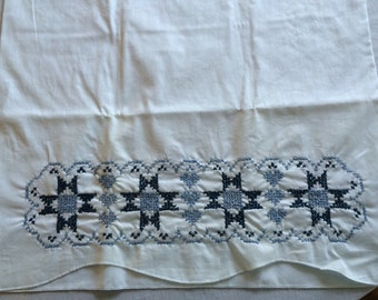 Vintage Blue Cross Stitch Embroidered Pillowcase