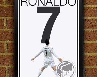 Real Madrid Ronaldo Poster - Portugal Soccer Poster Madrid poster, art, wall decor, home decor, futbol print, ronaldo art work