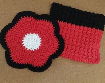 Pair of Chicago Bulls Crochet Trivets, Team Spirit, Flower Power, Benny the Bull, Dishrag