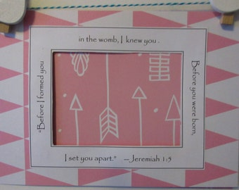 Pink and White Arrows Grandparents Gift Baby Girl Gender Reveal Ultrasound Frame Baby Announcement 5x7 Frame Jeremiah Christian Bible Verse