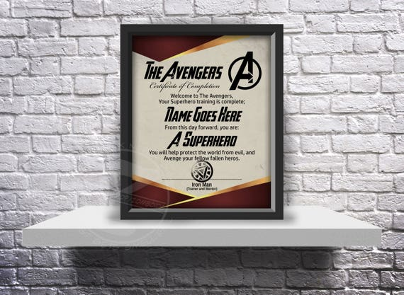 CUSTOM The Avengers acceptance certificate - Choose Inserts, and Size