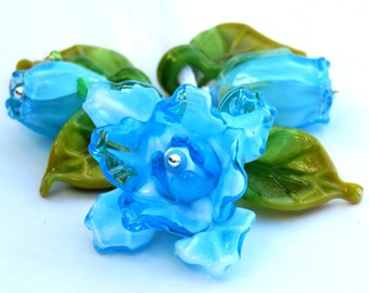 Lampwork Glass Flower Beads for Jewelry Making, A Romantic Bouquet, Set of Turquoise Roses with Leaves, Made to Order !