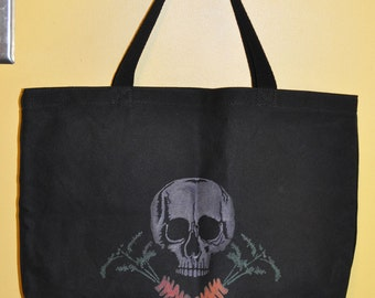 Skull and Cross Carrots Black Canvas Market Bag