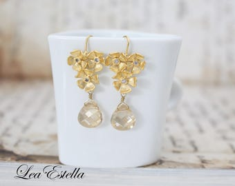 Gold Flower earrings Champagne gold bridal earrings Swarovski Crystals Bridal Earrings Garden Wedding Gold Floral earrings - Golden Shimmer