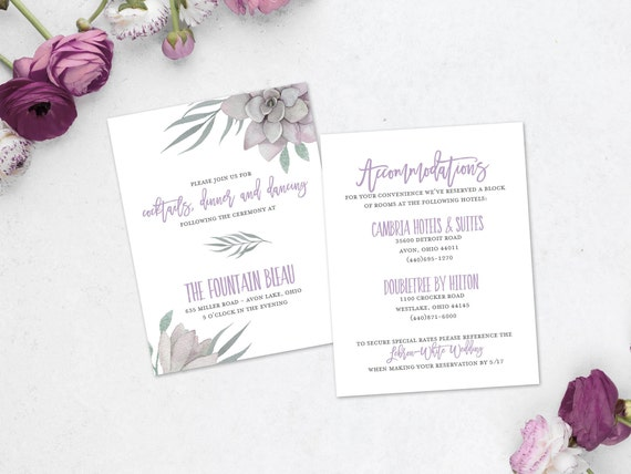 Lilac Dover Wedding Information Card