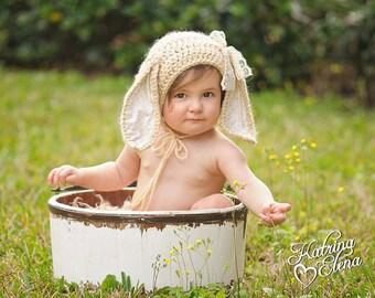 6-9 month Bunny Bonnet/ Sitter Size Bunny Bonnet/ Crochet Bunny Hat/ Baby Bunny Bonnet/ Bunny Hat/ Photo Prop Hat