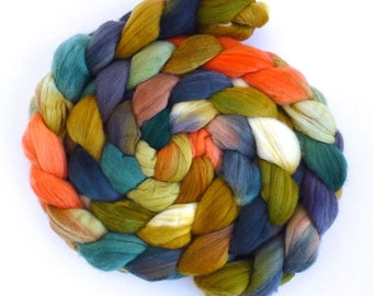 Resilience, Rambouillet Wool Roving - Hand Painted Spinning Fiber