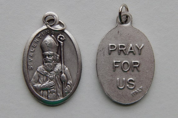 5 Patron Saint Medal Findings - St. Valentine, Die Cast Silverplate, Silver Color, Oxidized Metal, Made in Italy, Charm, Drop