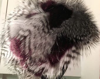 Aubergine Feather Faux Fur Hat