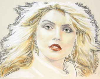 Original, hand drawn portrait of Debbie Harry, in charcoal and pastel on calico