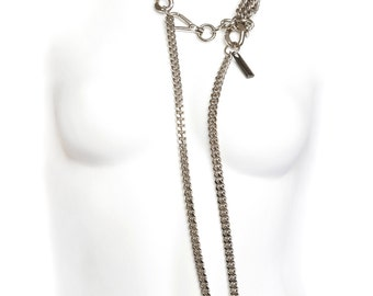 MultiStrand Necklace - Layering Long Necklace - Chain Necklace - Statement - Bling - Punk - Elegant - Gothic - Gossip Girl - DIAMOND