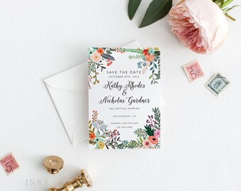 Printable Save The Date Printable - Romantic Botanical Wedding - Ready to Print PDF - Wedding Invites - Letter or A4 Size (Item code: P766)