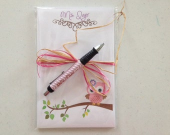 Personalized  owl pen and note pad Owl note pad and Pen set Teacher note pads teacher pens