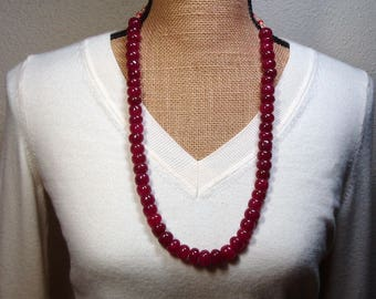 Huge Quality Genuine Real Earth Mined 802.00 Carats of Brazilian Red Ruby Roundel Gemstones Necklace