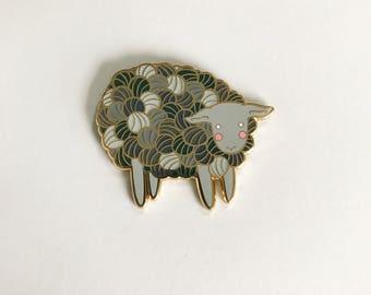Yarn Sheep Enamel Pin Lamb Enamel Pin - lamb pin- knitting pin - lamb pin lapel pin hat pin - Yarn hard enamel pin