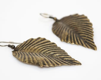 Large Leaf Earrings - Gold or Silver